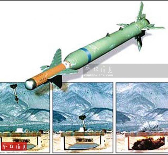 """由于经实战(1991年海湾战争和2003年伊拉克战争)证明,美军当时列装的GBU-28""""掩体粉碎机""""不足以满足美空军作战需要,急需一种新型钻地弹药,MOP项目随即于2004年启动。图为美军GBU-28攻击地下目标测试图,可穿透30米土层或6米钢筋混凝土。"""