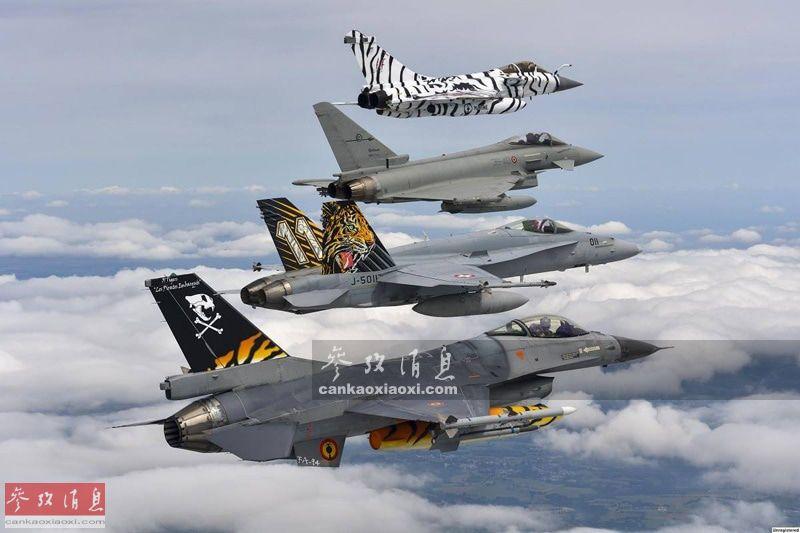 """""""老虎会""""(Tiger Meet)是北约举办的年度多国空军交流活动,因与会成员国军机都涂饰老虎图案而得名。 首届""""老虎会""""由英国空军于1961年在伍德布雷齐基地举办,当时还没出现虎纹涂装。直到1969年举行的第九届才出现完全虎纹涂装战机,自此""""虎纹战机""""才成为与会传统。图为2017届的部分参会机型编队从上到下依次为:法国海航""""阵风""""M战机、英国空军""""台风""""、瑞士空军F/A-18C战机、比利时空军F-16战机。"""