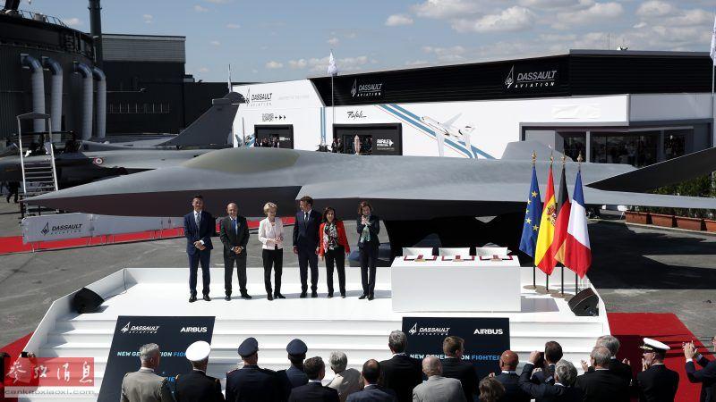 法德两国元首出席FCAS战机揭秘仪式。