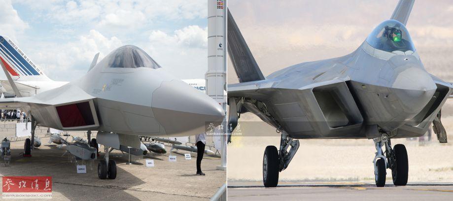 """类似角度下的土耳其TF-X(左)与美国F-22(右)外形对比,可见TF-X的进气道要小巧很多,但机头(雷达罩)尺寸却很大,外形上""""比例失调""""感较为明显。两者的吨位其实也不在一个量级上,根据土军方公开的数据显示,TF-X的最大起飞重量仅为27吨,与美军FA-18EF""""超级大黄蜂""""(29吨)较为接近,即中型隐身战机,无法与最大起飞重量达到37.8吨的F-22重型隐身战机相比。"""
