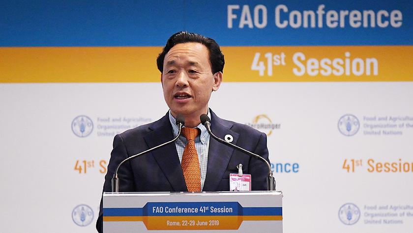中国农业农村部副部长屈冬玉当选联合国粮农组织总干事