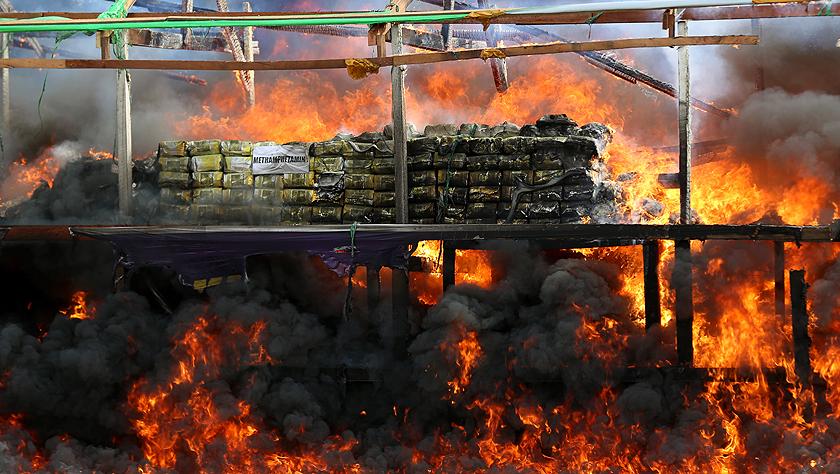 国际禁毒日缅甸公开销毁毒品