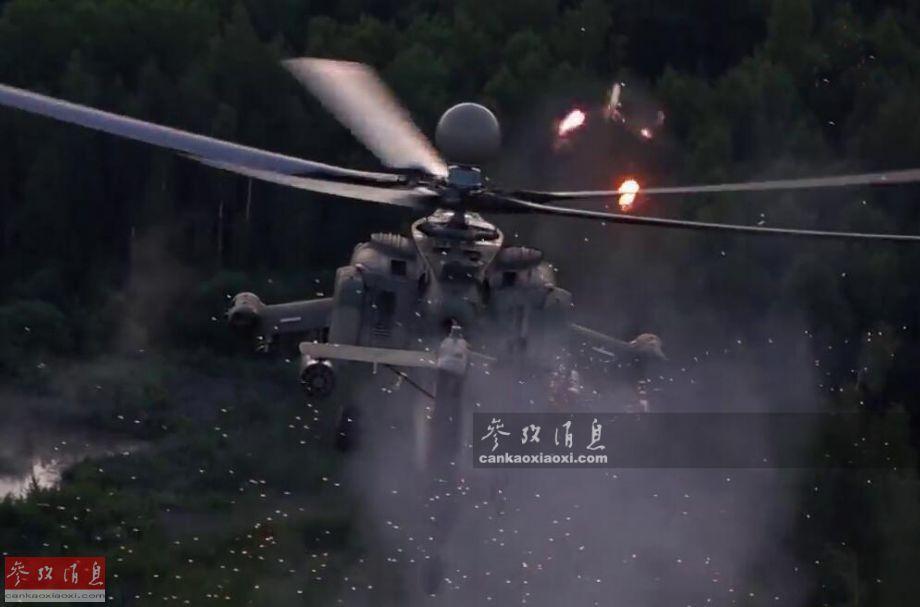 """近日,俄媒记者探访最新交付部队测试的米-28NM""""夜间猎手""""改进型攻击直升机,还近距目睹该型武直试射新型反坦克导弹场面。图为米-28NM武直试射反坦克导弹瞬间。26"""
