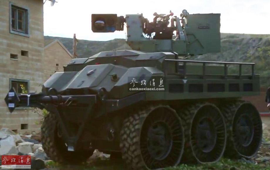 """""""猎人狼""""无人战车由美国""""HDT 环球""""公司研发,全车长2.3米,宽1.4米,高1.17米,全重仅1.1吨,但能搭载450公斤重的模块化作战载荷。其采用油电混合动力系统(最大输出功率130马力,可在作战时调至""""静音""""电动推进模式),不加油最大行程为100公里,最高时速32公里,最大续航时间72小时,还能驶上坡度为30度的斜坡。"""