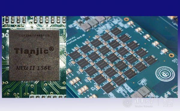 天机芯片单片(左)和5x5阵列扩展板(清华新闻网)