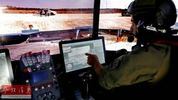 """以色列拉斐尔公司""""未来坦克""""模型座舱内部视图(法新社)。"""