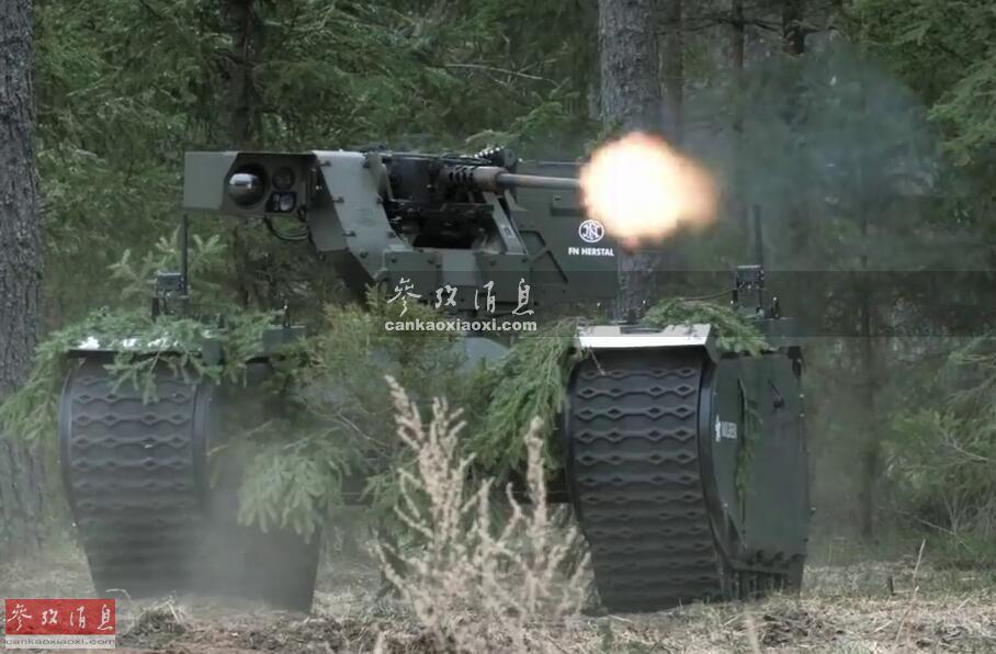 """""""忒弥斯""""(THeMIS,实为""""履带式混合动力模块化步兵系统""""的英文首字母缩写)无人战车由爱沙尼亚""""米尔瑞姆""""机器人公司研发,全长2米,全宽2.1米,采用模块化搭载设计,最大可载750千克作战载荷,可根据作战需要,更换不同作战组件,例如图中在执行火力压制任务时,可搭载配有一挺12.7毫米M2重机枪的遥控武器站(备弹300发)。执行反装甲任务时,也可选装""""标枪""""反坦克导弹等。"""