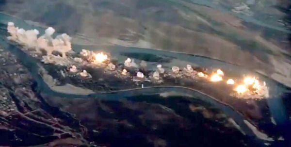 联军实施的空袭效果图(视频截图)