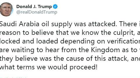 特朗普称知道袭击沙特油田的幕后主使 已做好应对准备