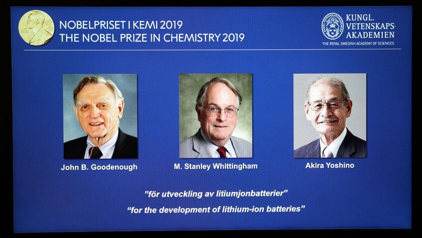 三名科學家分享2019年諾貝爾化學獎
