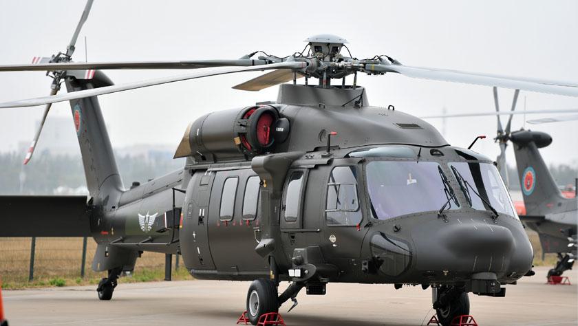我国自主研制的直-20多用途直升机亮相天津直博会