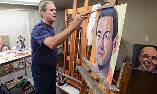 """通过画士兵肖像画赎罪?外媒:小布什办""""军人""""画展引争议"""