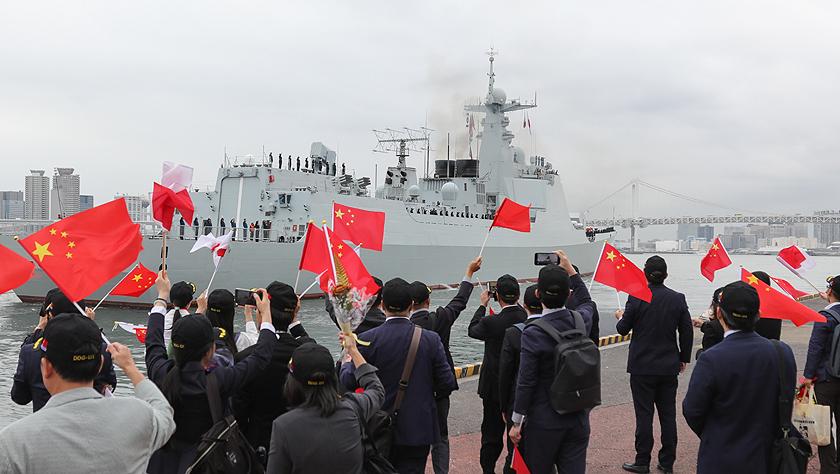 中国海军太原舰结束对日访问启航回国