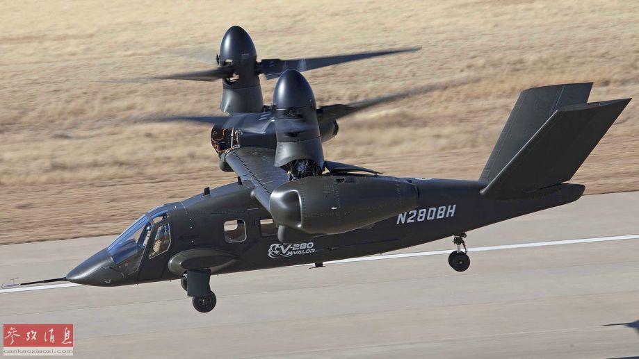 "V-280""勇士""为美国贝尔直升机公司与洛-马公司联合研制的第三代倾转旋翼机,专为美陆军""未来直升机""(FVL)项目打造。图为V-280以""垂直起飞""模式升空,可见发动机前端旋翼已上抬至90度(无需像V-22一样转动整个发动机短舱)。"
