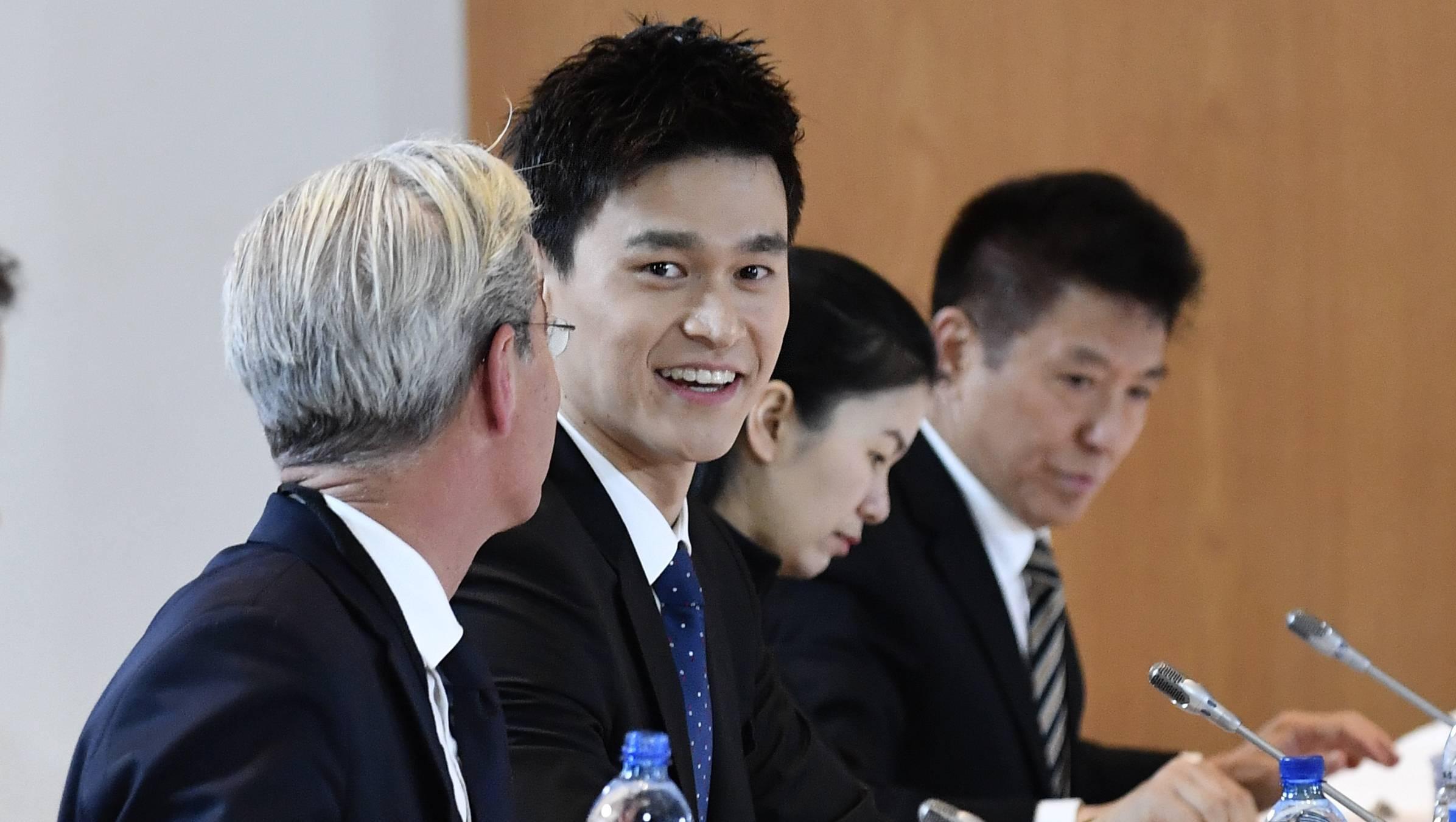 孙杨在瑞士出席大发3D体育仲裁法庭听证会