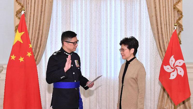 外媒:香港警务处长邓炳强履新 强调首要职责是维持治安