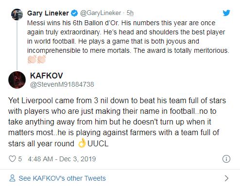 """网友评论加里""""利物浦赢过巴萨"""""""