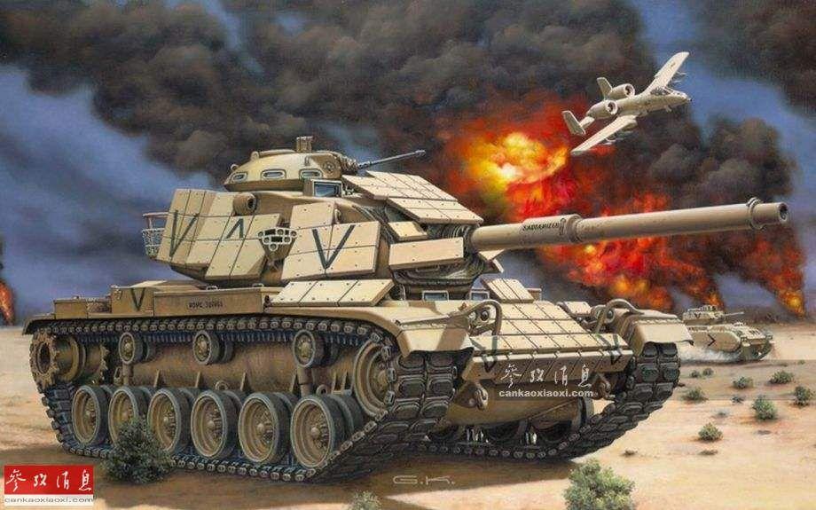 视频中挑选的是著名的美制M60A1坦克,M60系列坦克由美国克莱斯勒公司最初于20世纪50年代末研发,1962年列装美陆军,后续改进型参加过包括1973年第四次中东战争、1983年美军入侵格林纳达、1991年海湾战争等多场局部战争。图为艺术家绘制的带有爆炸式反应装甲的美军M60A1坦克参加海湾战争场景图。
