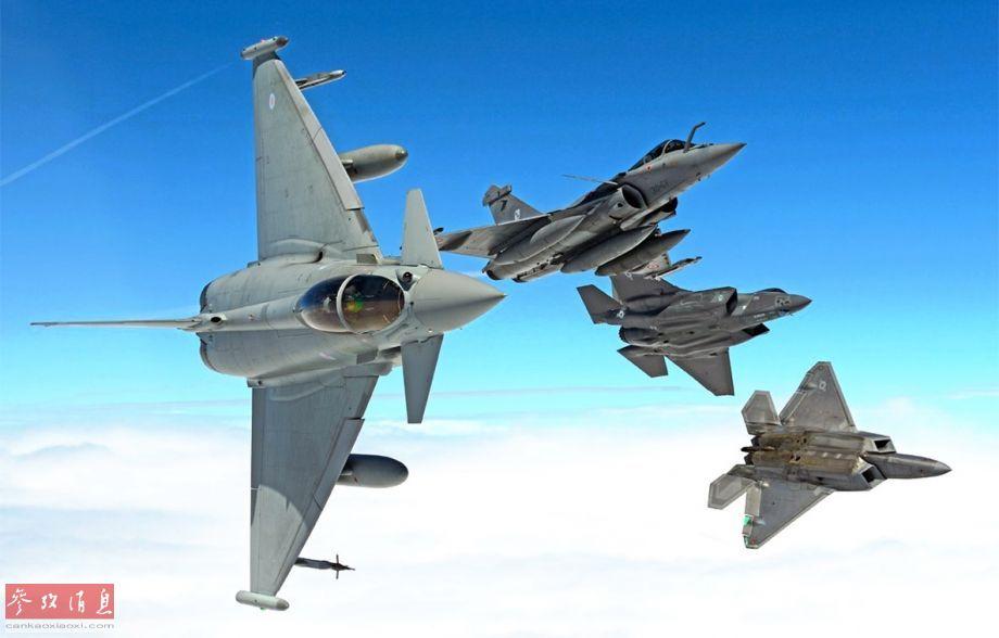 """""""台风""""脱胎于英德意西4国的""""欧洲战机计划"""",于1994年3月首飞,2003年8月服役,是西方现役4代半战机的典型代表之一,除了优秀的对空对地作战性能外,还具备以1.5马赫速度进行短时间超音速巡航的能力。""""台风""""系列战机已参加过2011年利比亚战争(首次实战)、2015年空袭叙极端组织以及空袭也门等至少3场实战。图为""""台风""""与""""阵风""""、F-22及F-35编队飞行照。"""