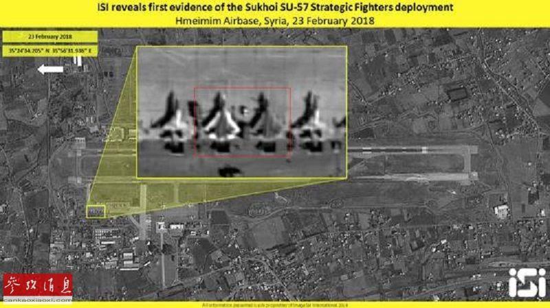 苏-57首次飞赴叙利亚是在2018年2月。据俄新社2018年2月24日报道,俄军目前已在叙利亚部署了4架苏-57隐身战机。图为以色列ISI地理信息公司的卫星于2月23日拍摄的俄驻叙赫梅米姆空军基地卫星照片,可见2架苏-57隐身战机与苏-35S重型战机并排停放在停机坪上。