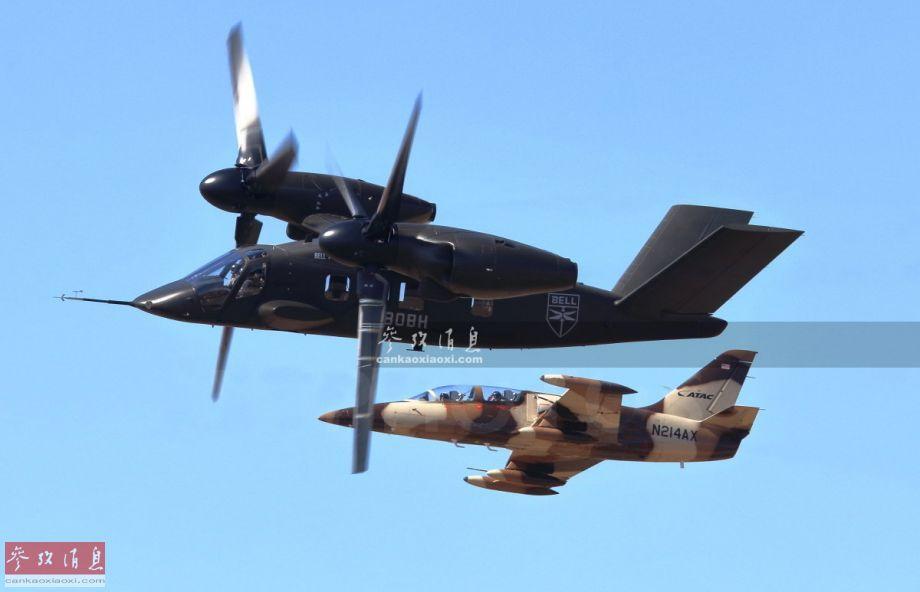 """12月18日,美国老牌航空厂商——贝尔直升机公司放出V-280""""勇士""""新型倾转旋翼机相关宣传视频,其中还有与L-39喷气式教练机编队的画面,较为罕见。图为V-280原型机与L-39喷气战机编队飞行。38"""