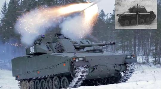 """消灭2公里外坦克!CV90步战车试射""""长钉""""导弹"""