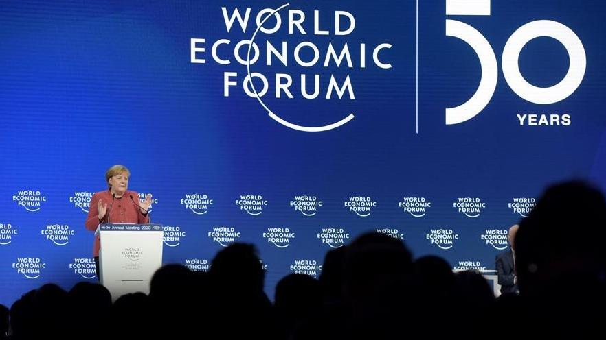 德国总理默克尔出席世界经济论坛2020年年会