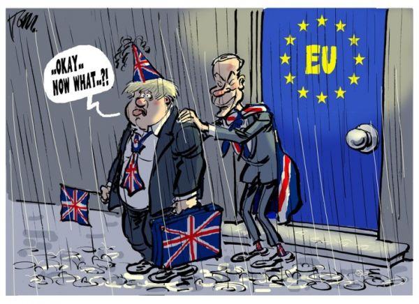 """英国首相鲍里斯·约翰逊带着英国的行李走出欧盟大门。然而,站在风雨交加的室外,约翰逊喃喃道:""""好吧,现在怎么办?!""""(原载《韩国时报》网站)"""