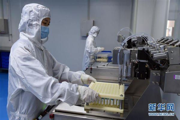 2月12日,工作人员在安徽省合肥市高新技术产业开发区一企业生产车间内工作。新华社发(周牧 摄)