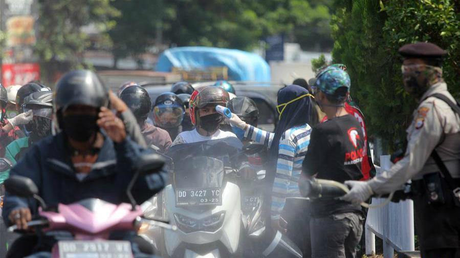 印尼:街頭消毒防疫