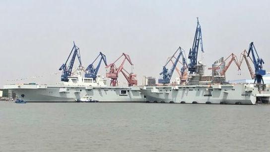 两舰下水间隔仅半年 英媒:中国第二艘075型两栖攻击舰下水