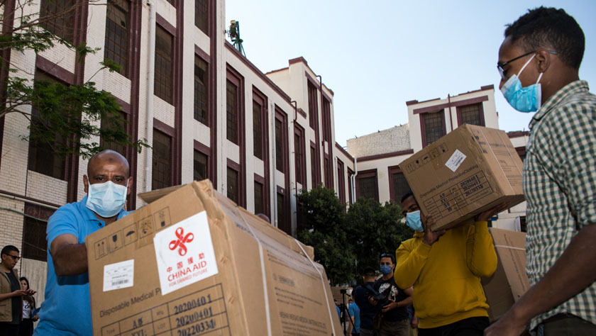 中國政府援助埃及第二批抗疫物資完成交接