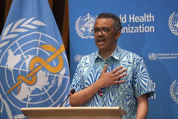 5月19日,在瑞士日内瓦,世界卫生组织总干事谭德塞在第七十三届世界卫生大会上讲话。新华社发
