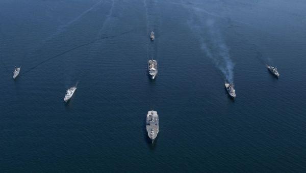 参加北约演习的多国海军舰艇(北约组织网站)