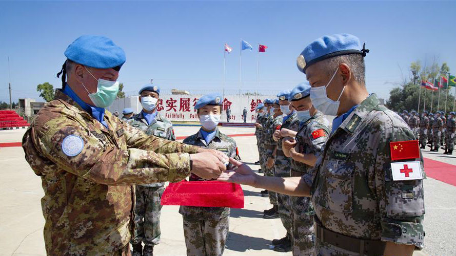 中国赴黎巴嫩维和官兵被授予联合国勋章