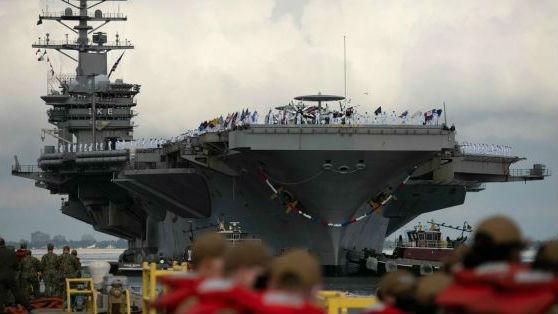"""美媒文章:美海军航母""""双泵""""部署引质疑"""