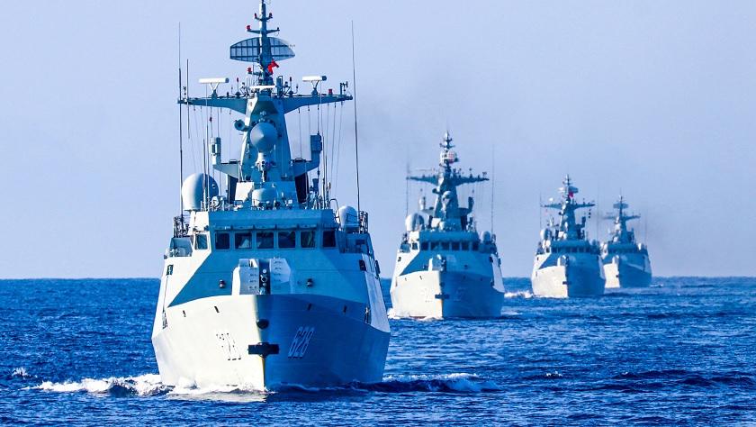 编队航行!看南部战区海军056护卫舰南海训练