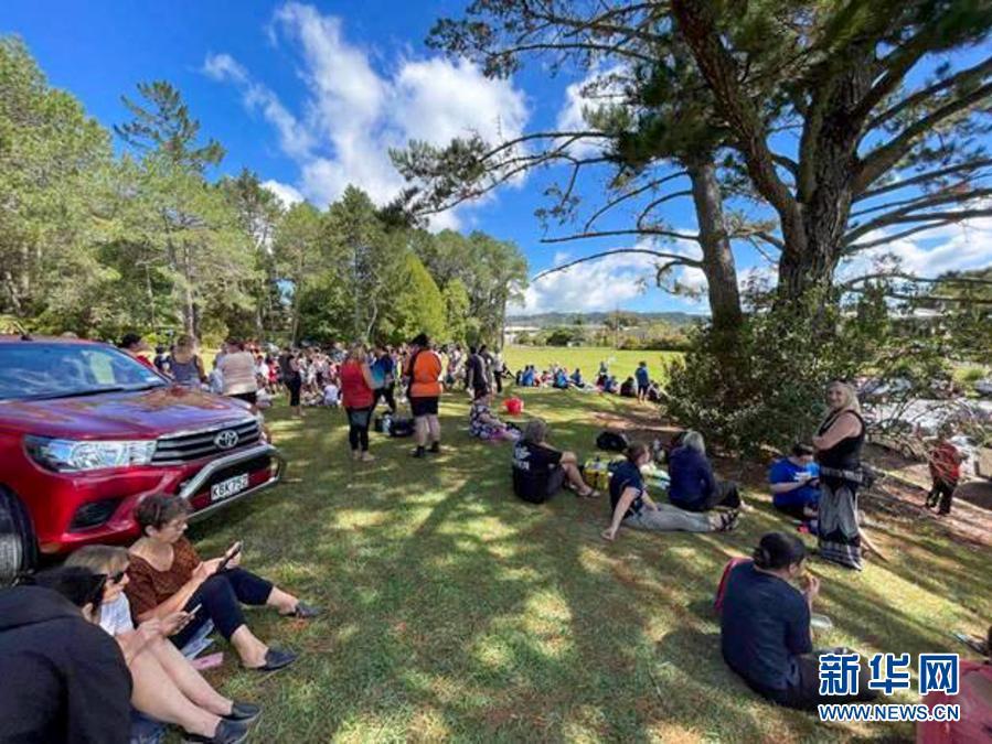 3月5日,在新西兰旺阿雷,人们紧急疏散至城市外一处高地。新华社发(天维网供图)