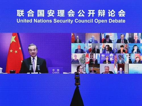 5月16日,国务委员兼外长王毅主持联合国安理会巴以冲突问题紧急公开会。(外交部网站)
