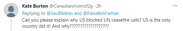 您能解释一下为什么美国阻止了联合国的停火磋商吗?美国是唯一这样做的国家!为什么??????????????
