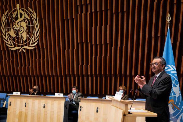 当地时间2021年5月24日,瑞士日内瓦,第74届世界卫生大会在日内瓦开幕,世界卫生组织总干事谭德塞发表讲话。