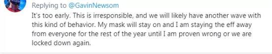 现在解封为时尚早,不负责任。我们或将因此遭遇新一波疫情,我将把口罩一直戴着,直到事实声明我错了,或者我们再次被封锁。
