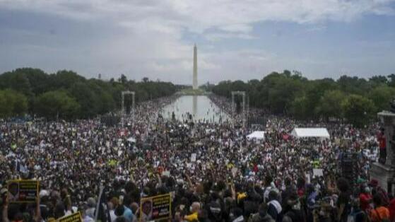 资料图片:人们在美国首都华盛顿参加反种族歧视和暴力执法示威活动。(新华社)