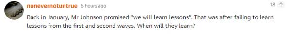 """回到一月,约翰逊承诺说""""我们将吸取教训"""",那还是在第一波和第二波教训都没有吸取的情况下,他们什么时候能长记性?"""