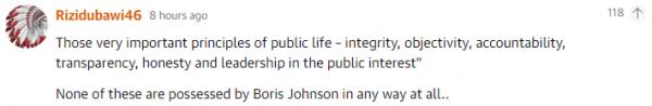 那些对公众生活非常重要的原则——正直、客观、负责、透明、诚实和维护公共利益,在约翰逊身上都一点没有体现。