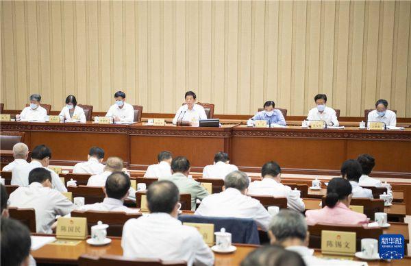 8月20日,十三届全国人大常委会第三十次会议在北京人民大会堂闭幕。栗战书委员长主持会议。新华社记者 李涛 摄