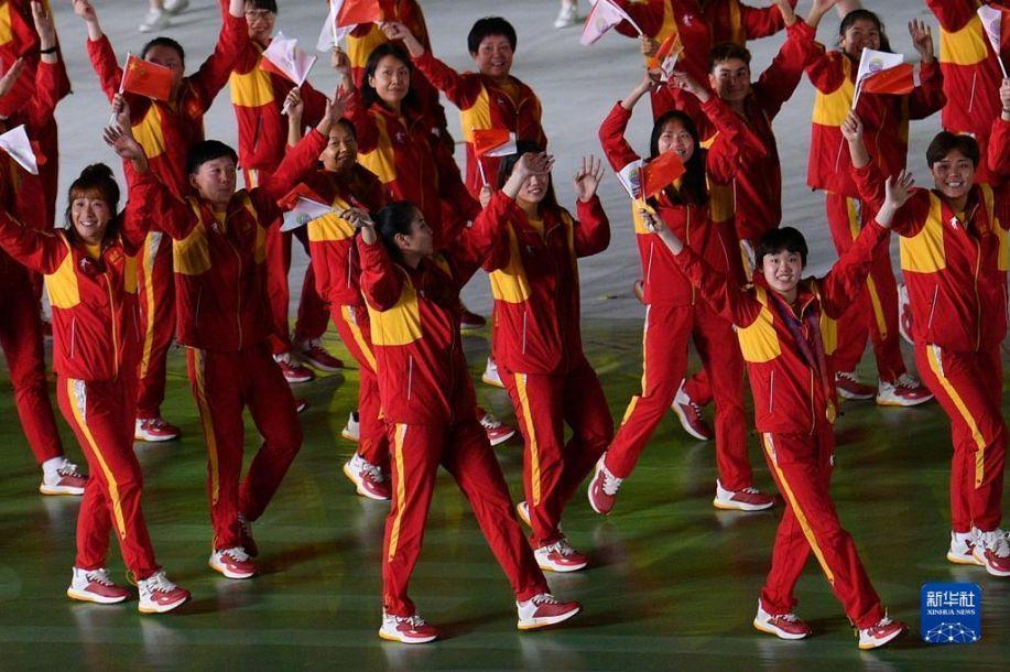 9月15日,北京市体育代表团在入场仪式上。当日,第十四届全国运动会开幕式在西安奥体中心体育场举行。新华社记者 孙非 摄