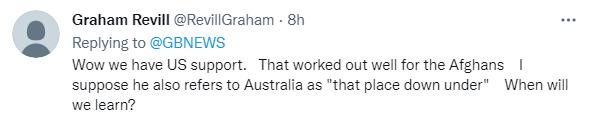"""哇哦这就是美国的支持。他们对阿富汗的支持已经奏效了,现在轮到""""南边的澳大利亚""""了。我们什么时候才能长记性?"""