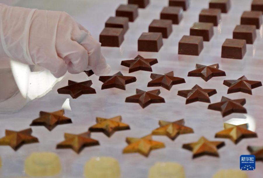 """这是10月15日在意大利佩鲁贾""""欧洲巧克力节""""上拍摄的巧克力。当日,第27届""""欧洲巧克力节""""在有""""巧克力之城""""美誉的意大利中部城市佩鲁贾开幕。新华社记者金马梦妮摄"""